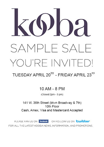 Kooba sample sale in NYC 4/20-4/23! featured on Shopalicious.com