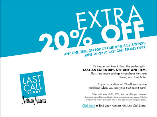 Neiman Marcus Last Call 20-30% off storewide + extra 20% coupon! featured on Shopalicious.com