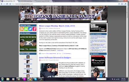 Bronx Baseball Daily blog