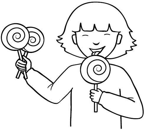 Imagenes de niña comiendo para colorear - Imagui