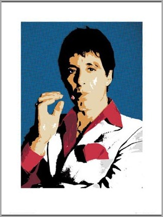 lgsb0087 tony-montana-smoking-a-cigar-al-pacino-scarface-art-print