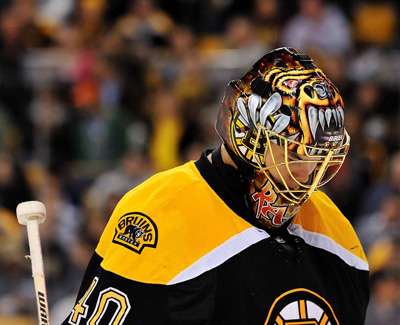 Another picture of Tuukka Rask with his Bruins goalie mask