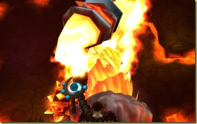 Mingle is understandably dwarfed by Ragnaros.  (Ba-doom ching!)