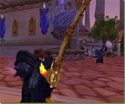 You'd think a rogue would be given the dark rod, but nope it's the shiny bright one.  Bah.