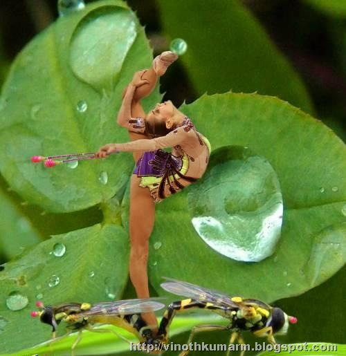 A Girl dancing with a drop at his toe picture