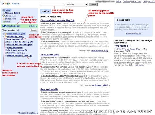 google-reader front page