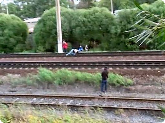 Dangerous Play by Russian Teens in railway track (1)