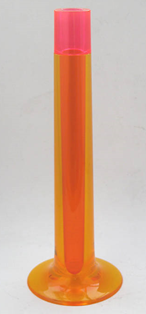 Flute vase, pink and orange