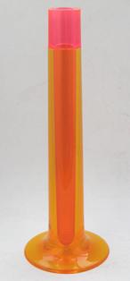 Flute vase, pink and orange