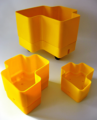 Yellow Vastill planters, three models