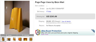 Final bid screenshot, yellow Pago Pago vase