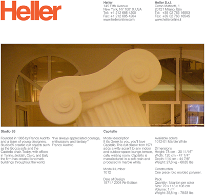 Heller Capitello armchair technical data sheet