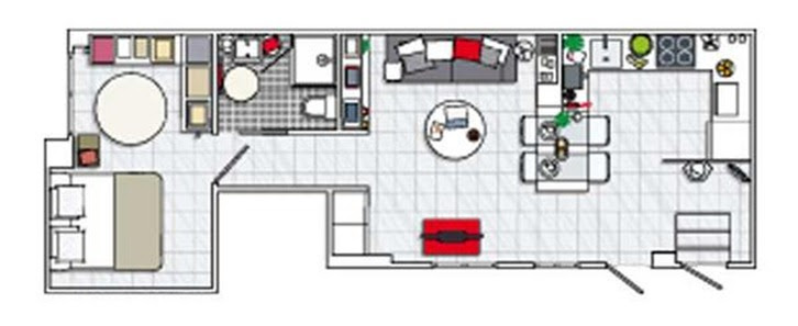 Apartamento de 40 m2in interiors design for Ikea piso 50 metros