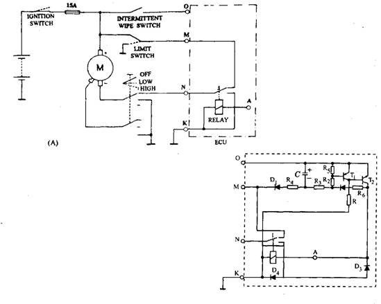 Intermittent wipe control. A. Main circuit for intermittent wipe control. B. Relay control circuit.