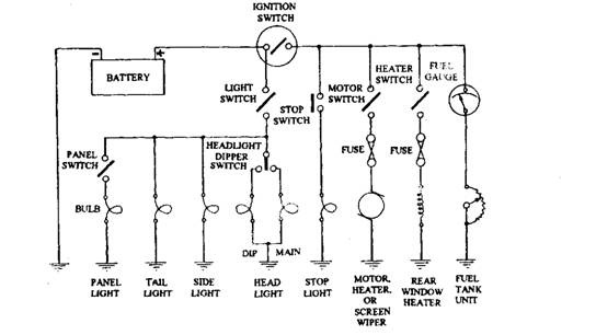 Basic wiring circuit of vehicle.
