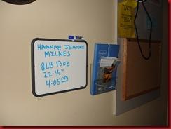 Hannah's sign in hospital room