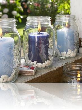 Velas em vidros de conserva