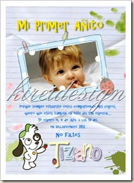 Tarjeta primer año_niño