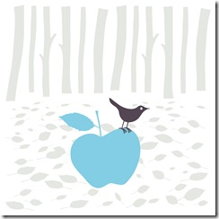 bird and blue apple
