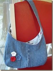 good flower jeans bag up close