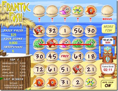 bingo line in Frantic Fish