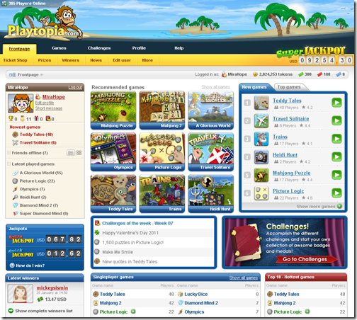 Playtopia homepage