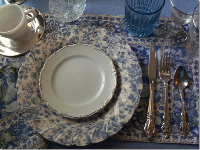 Blue chintz table with food 028