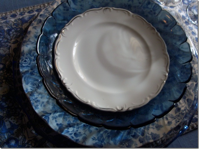 Blue chintz table with food 007