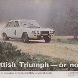 WRX902H on BL's High Road magazine just after winning the Scottish Rally, 1970