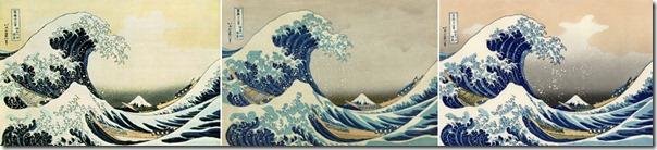 """Три разных варианта гравюры  Кацусики Хокусая """"Большая волна в Канагаве"""""""