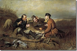 """А вот охотники на привале общаются (В.Г. Перов. """"Охотники на привале"""")"""