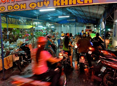 A motorbike parking lot in Vietnam