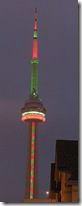 CN Tower lit up for Christmas