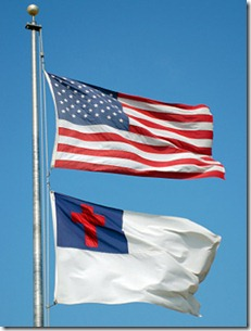 American and Christian flags
