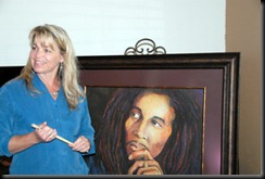 Brenda Dominguez with her painting