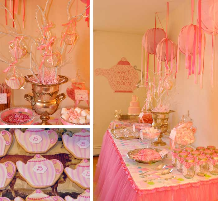 Tea room party ava is 5 chickabug for Small room for party