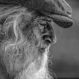 If i could turn back time by Stanley Azzopardi - People Portraits of Men ( old, black and white, cap, white, beard, portrait, man, hat,  )