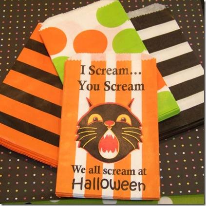 Favor Bags Halloween Cat Group Med
