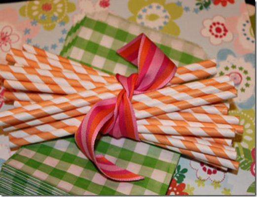 Paper Straws Orange Stripe Close 7