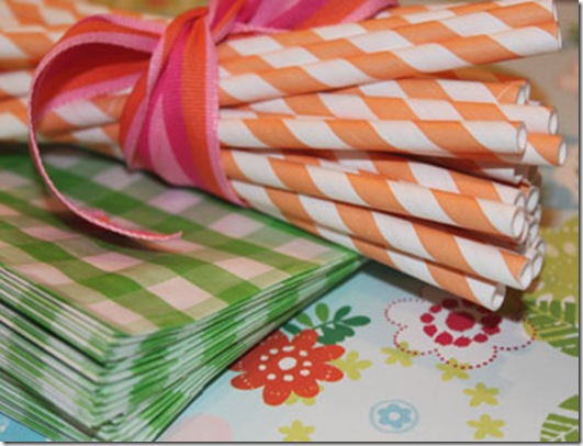 Paper Straws Orange Stripe Close 8