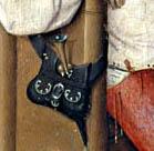 Extracción de la piedra de la locura (El Bosco 1475-1480) detalle de la bolsa del dinero atravesada por un puñal
