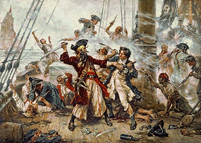 Captura del Pirata Barbanegra en 1718