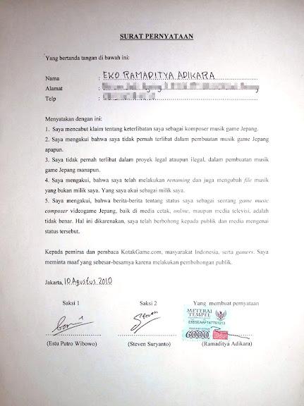 Surat Pernyataan Rama Aditya