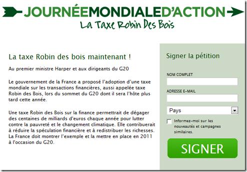 Pétition Taxe Tobin - Canada