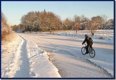 Cycling is easier down here - the towpath is bumpy and narrow...