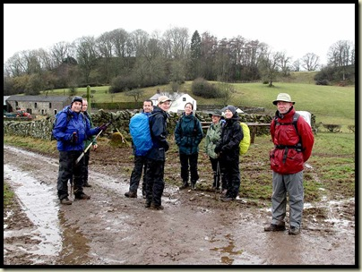 A bedraggled group in the mud by Hall Field (a farm)