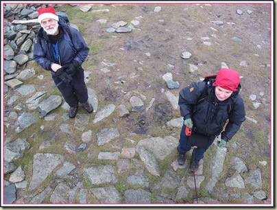 Santa and Shirley below the summit of Racecourse Hill