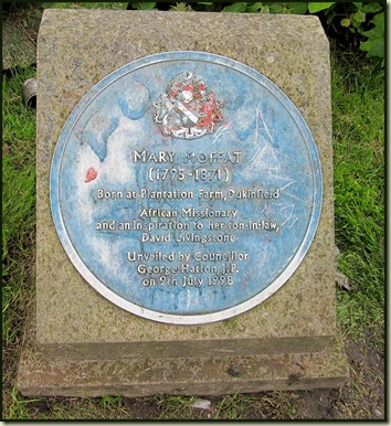 A historic plaque to Mary Moffat