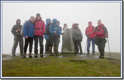 East Lancs LDWA members on the summit of Shutlingsloe - 13/2/11