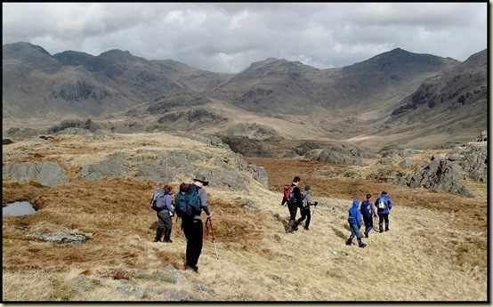 Descending from Hard Knott, with Bowfell to the right